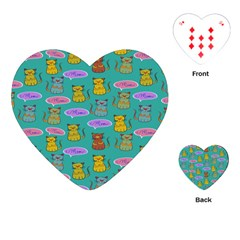 Meow Cat Pattern Playing Cards (heart)  by Amaryn4rt