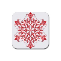Red Pattern Filigree Snowflake On White Rubber Square Coaster (4 Pack)  by Amaryn4rt