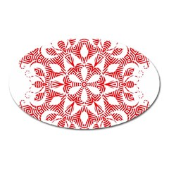 Red Pattern Filigree Snowflake On White Oval Magnet by Amaryn4rt