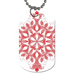 Red Pattern Filigree Snowflake On White Dog Tag (one Side) by Amaryn4rt