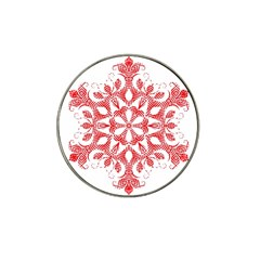 Red Pattern Filigree Snowflake On White Hat Clip Ball Marker (4 Pack) by Amaryn4rt