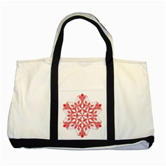 Red Pattern Filigree Snowflake On White Two Tone Tote Bag by Amaryn4rt
