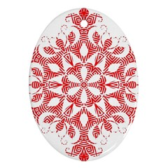 Red Pattern Filigree Snowflake On White Oval Ornament (two Sides) by Amaryn4rt