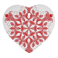 Red Pattern Filigree Snowflake On White Heart Ornament (two Sides) by Amaryn4rt
