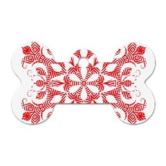 Red Pattern Filigree Snowflake On White Dog Tag Bone (two Sides) by Amaryn4rt