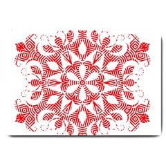 Red Pattern Filigree Snowflake On White Large Doormat  by Amaryn4rt