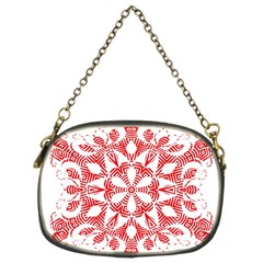 Red Pattern Filigree Snowflake On White Chain Purses (two Sides)  by Amaryn4rt