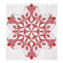 Red Pattern Filigree Snowflake On White Shower Curtain 66  X 72  (large)  by Amaryn4rt