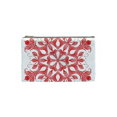 Red Pattern Filigree Snowflake On White Cosmetic Bag (small)  by Amaryn4rt