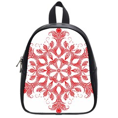 Red Pattern Filigree Snowflake On White School Bags (small)  by Amaryn4rt