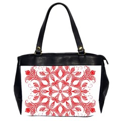 Red Pattern Filigree Snowflake On White Office Handbags (2 Sides)  by Amaryn4rt