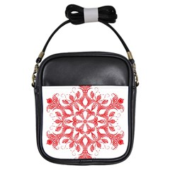Red Pattern Filigree Snowflake On White Girls Sling Bags by Amaryn4rt