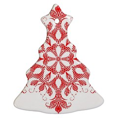 Red Pattern Filigree Snowflake On White Christmas Tree Ornament (two Sides) by Amaryn4rt