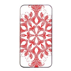 Red Pattern Filigree Snowflake On White Apple Iphone 4/4s Seamless Case (black) by Amaryn4rt
