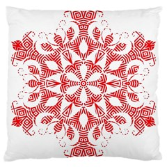 Red Pattern Filigree Snowflake On White Large Cushion Case (one Side) by Amaryn4rt