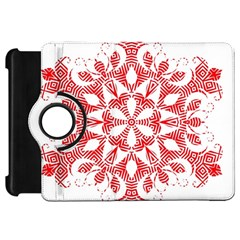 Red Pattern Filigree Snowflake On White Kindle Fire Hd 7  by Amaryn4rt