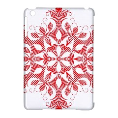 Red Pattern Filigree Snowflake On White Apple Ipad Mini Hardshell Case (compatible With Smart Cover) by Amaryn4rt