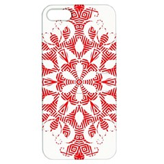 Red Pattern Filigree Snowflake On White Apple Iphone 5 Hardshell Case With Stand by Amaryn4rt