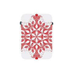 Red Pattern Filigree Snowflake On White Apple Ipad Mini Protective Soft Cases by Amaryn4rt