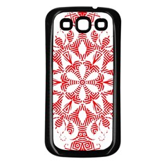 Red Pattern Filigree Snowflake On White Samsung Galaxy S3 Back Case (black) by Amaryn4rt