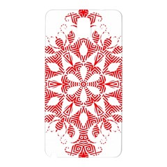 Red Pattern Filigree Snowflake On White Samsung Galaxy Note 3 N9005 Hardshell Back Case by Amaryn4rt