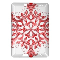 Red Pattern Filigree Snowflake On White Amazon Kindle Fire Hd (2013) Hardshell Case by Amaryn4rt