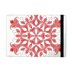 Red Pattern Filigree Snowflake On White Ipad Mini 2 Flip Cases by Amaryn4rt