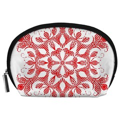 Red Pattern Filigree Snowflake On White Accessory Pouches (large)  by Amaryn4rt