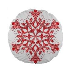 Red Pattern Filigree Snowflake On White Standard 15  Premium Flano Round Cushions by Amaryn4rt