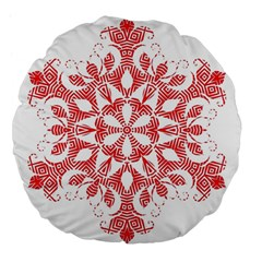 Red Pattern Filigree Snowflake On White Large 18  Premium Flano Round Cushions by Amaryn4rt