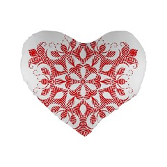 Red Pattern Filigree Snowflake On White Standard 16  Premium Flano Heart Shape Cushions by Amaryn4rt