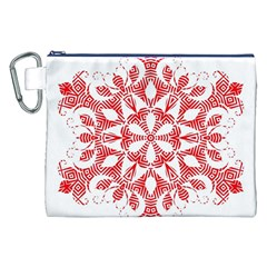 Red Pattern Filigree Snowflake On White Canvas Cosmetic Bag (xxl) by Amaryn4rt