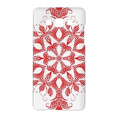 Red Pattern Filigree Snowflake On White Samsung Galaxy A5 Hardshell Case  by Amaryn4rt