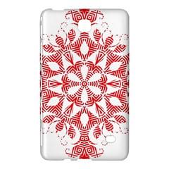 Red Pattern Filigree Snowflake On White Samsung Galaxy Tab 4 (7 ) Hardshell Case  by Amaryn4rt