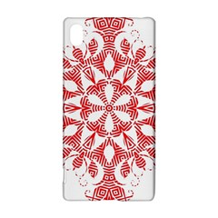 Red Pattern Filigree Snowflake On White Sony Xperia Z3+ by Amaryn4rt