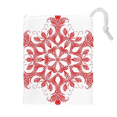 Red Pattern Filigree Snowflake On White Drawstring Pouches (extra Large) by Amaryn4rt