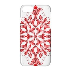 Red Pattern Filigree Snowflake On White Apple Iphone 7 Hardshell Case by Amaryn4rt