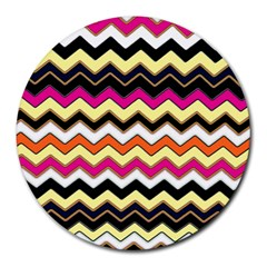 Colorful Chevron Pattern Stripes Round Mousepads by Amaryn4rt