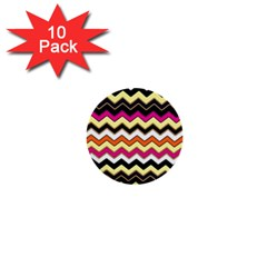 Colorful Chevron Pattern Stripes 1  Mini Buttons (10 Pack)  by Amaryn4rt