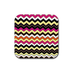 Colorful Chevron Pattern Stripes Rubber Square Coaster (4 Pack)  by Amaryn4rt