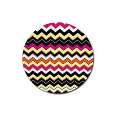 Colorful Chevron Pattern Stripes Rubber Round Coaster (4 Pack)  by Amaryn4rt
