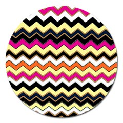 Colorful Chevron Pattern Stripes Magnet 5  (round) by Amaryn4rt