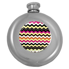 Colorful Chevron Pattern Stripes Round Hip Flask (5 Oz) by Amaryn4rt