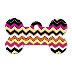 Colorful Chevron Pattern Stripes Dog Tag Bone (two Sides) by Amaryn4rt
