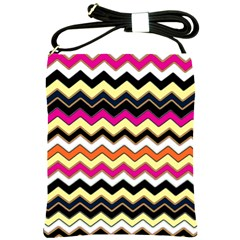 Colorful Chevron Pattern Stripes Shoulder Sling Bags by Amaryn4rt