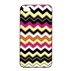 Colorful Chevron Pattern Stripes Apple Iphone 4/4s Seamless Case (black) by Amaryn4rt