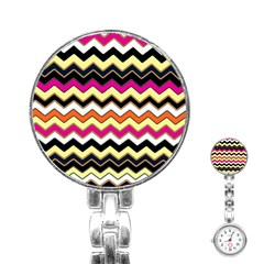 Colorful Chevron Pattern Stripes Stainless Steel Nurses Watch by Amaryn4rt