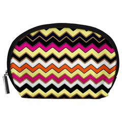 Colorful Chevron Pattern Stripes Accessory Pouches (large)  by Amaryn4rt
