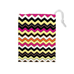 Colorful Chevron Pattern Stripes Drawstring Pouches (medium)  by Amaryn4rt