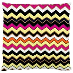 Colorful Chevron Pattern Stripes Large Flano Cushion Case (Two Sides) Back